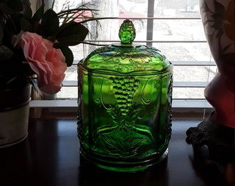 "Indiana Carnival Glass Canister Biscuit Jar Green Grape Leaves Harvest LARGE 8 3/4"" Tall"