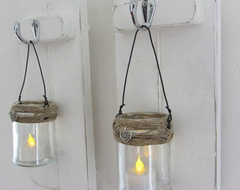 Pair of 32 cm Rustic Reclaimed Pallet Wood antique white shabby chic Wall Sconce's with hanging mason jars LED Tea Light candle Lanterns
