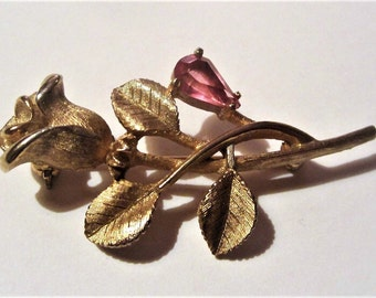 1970s Avon Rose Brooch with Pink Rhinestone Vintage Gold Tone Rose Mother's Day Gift
