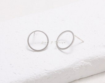 Open Circle Round Eternity Stud Earrings
