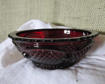 1876 Avon Cape Cod Collection Ruby Red Glass Dessert Bowl vintage