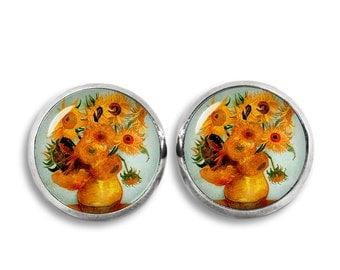 Van Gogh Stud Earrings Sunflowers Earrings Van Gogh painting Earrings Art Jewelry