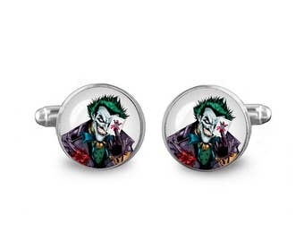 Joker Cuff Links 16mm Villains Cufflinks Gift for Men Groomsmen Novelty Cuff links Fandom Jewelry