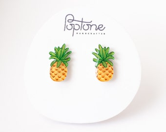 Pineapple Earrings, Pineapple Fruit Studs, Pineapple Jewelry, Fruit Earrings