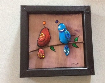 Painted stone art Birds on a branch