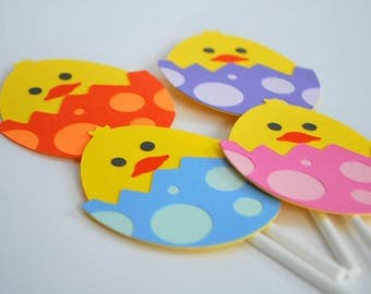 Easter Cupcake Toppers - Easter Egg Cake Toppers - Easter Chick Cupcake Picks (set of 12)