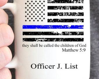 Blue Line Flag Personalized Mug