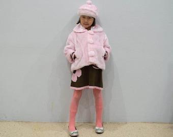 Pink Faux Fur Jacket with Pompom Beret Hat