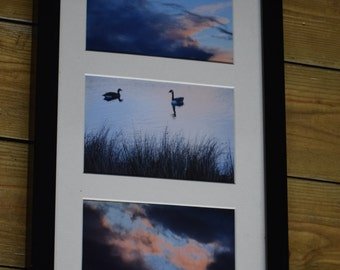 "Framed Lake and Sunset Photo Triptych - 3 6x4"" Prints, 17x9"" Frame"