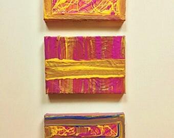Colorful Original Group of Acrylic Paintings//Kid's Room Paintings