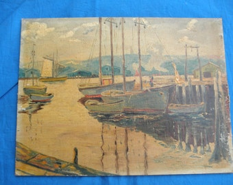 Vintage Harbor Scene Oil Painting on Board Home Decor Wall hanging collectible art Sailing Ships