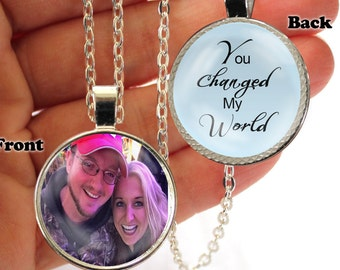 Personalized, Pendant, Double Sided, You Changed, My World, Necklace