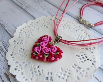 Heart necklace  Heart pendant Polymer clay Magenta flowers  heart necklace Marsala Jewelry handmade Valentine's day gift