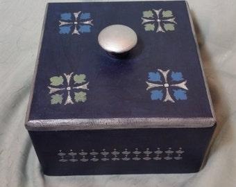 Dark Blue Vintage Keepsake Box, Storage, Decor, Celtic, Hand Painted