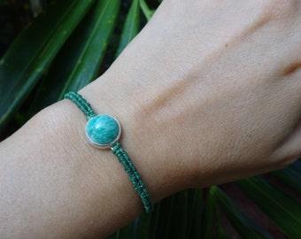macrame sterling silver bracelet with amazonite, macrame bracelet, amazonite bracelet, gem bracelet
