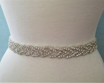 Wedding Belt, Bridal Sash Belt - Silver Clear RHINESTONE Wedding Sash Belt