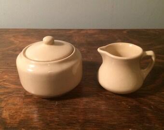 Vintage Buffalo China Adobe Tan Ironstone Restaurant Ware Sugar Bowl and Creamer