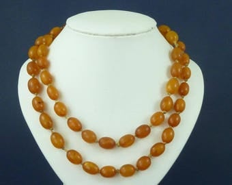 Antique Natural Baltic Amber Bead Necklace 51g Butterscotch  Genuine