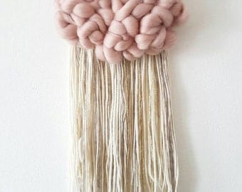 Woven wall hanging, Fluffy cloud in dusty pink, with a lovely fringe ivory grey and a touch of gold