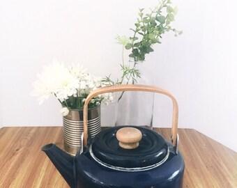 Vintage Mid- Century Blue Enamelware and Wood Tea Kettle