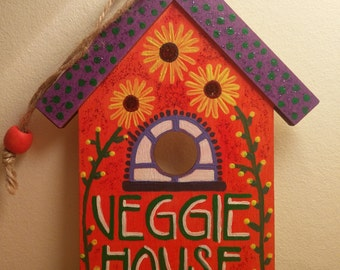 Hand Painted Wooden 'Veggie House' Decoration