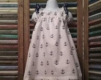 Girls summer dress, Girls Anchor dress, Girls nautical dress,  Size 2T girls dress, Toddler Beach dress, Toddler girls dress, #202