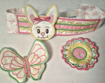 Headband with 3 add ons - Bunny Flower Butterfly