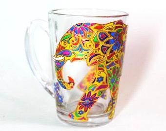 Yellow mug Elephant Coffee mug Indian Elephant Mug Funny Mug Painted Coffee Mug Glass unique coffee mug Gift for her Personalized mug 11 oz