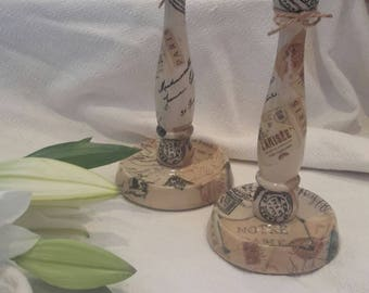 Candleholder,candlesticks,Vintage,Paris,hand decorated,decoupage,cream,Vintage candlestick,shabby chic,two,wedding present,wedding,present