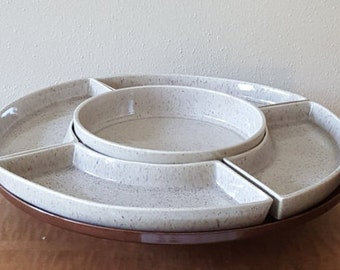Appetizer Serving Tray Lazy Susan Turnable Vintage