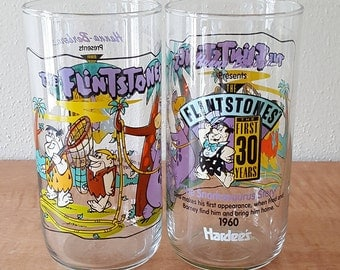 Flintstones Collector Tumblers Set of 2 Hardees 1991 Celebrating 30 Years Commemorative Libbey Glasses