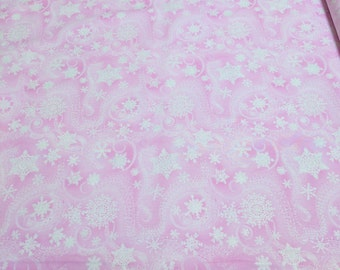 Snowflakes on Pink with Silver Sparkles Cotton Fabric from Timeless Treasures