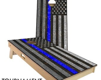 Police Thin Blue line Cornhole Boards| Baggo| Wedding cornhole boards| Bean bag toss