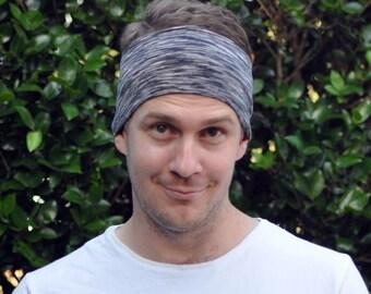 Men's black headband, Crossfit headband, sports headband, sweatband, black space dyed headband, gift for him, mens gift, gift for men
