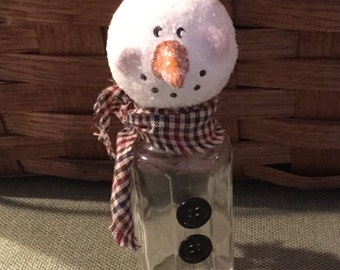 Glittered Snowman on Jar