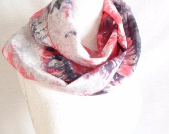 unique red and black silk scarf modern scarf luxury silk scarf hand painted silk scarf silk skinny scarf handmade  scarf SilkScarvesParis