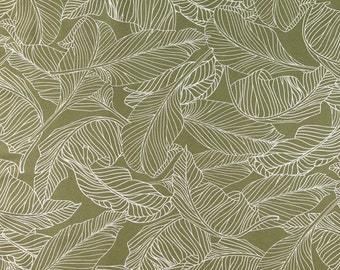 Leaf Fabric- Green Fabric- Olive Green- Scandinavian Fabric- Green Home Decor- Curtain Fabric- Designer Fabric- Botanical Fabric- Fabric