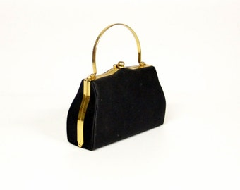 Vintage black ladies bag/evening bag with gold-colored bracket-Bag
