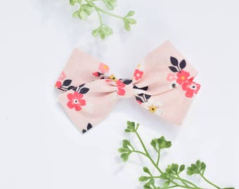 Pink Blossoms, Fabric Bow Clip, Toddler Bow