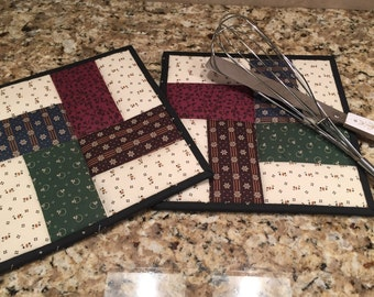 Quilted potholders, country theme hot pads, Kitchen potholders, Quiltsy handmade, Item #138