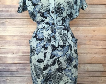 Midi Dress Floral | Pencil Dress | Floral Dress | Blue Dress | Sheath Dress | Pencil Dress with Sleeves | Summer Dress | Casual Dress