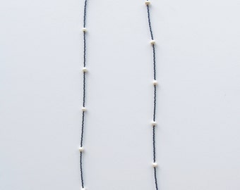 Metallic Gray-Blue Necklace with Freshwater Pearls