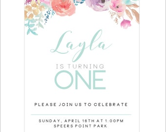 Floral 1st birthday Invitation for little girl