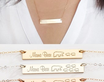SALE-Mama Bear Necklace-Gold Bar Necklace-Personalized Gift for Mom-Baby Bears Cubs -14K Gold Filled-Rose Gold Filled,Sterling Silver-CG240N