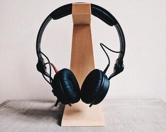 Headphone holder / stand / dock design minimalist design printed in wood/ desk organizer / original gift for him or her