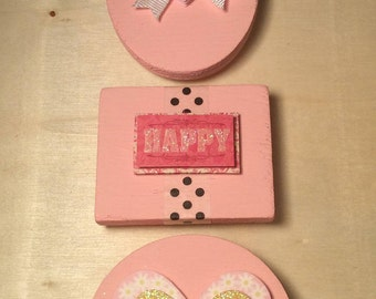 Set of 3 Light Pink Wooden Magents (6)