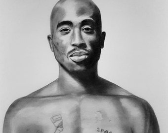 Original pencil drawing A2, 2pac portrait, Realistic pencil and charcoal drawing, Drawing of rap legend