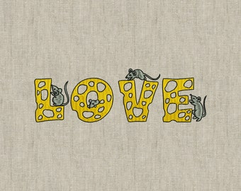 Love Cheese and Mouses embroidery - Machine embroidery design, embroidery stitches -  instant download