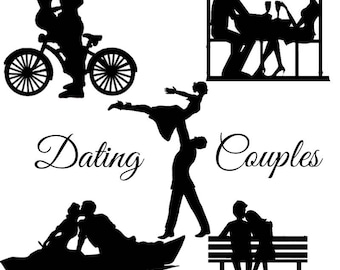 Dating couple Silhouette die cut out shape x 10 Great for wedding craft, cardmaking, scrapbooking, wedding lantern, fairy jars