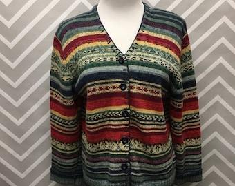 Tiara Petites Women's Colorful Knit Cardigan